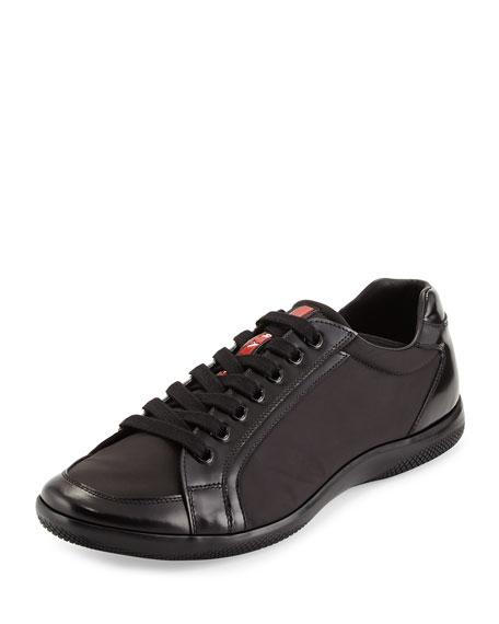 Prada Nylon and Spazzolato Low-Top Sneaker, Navy