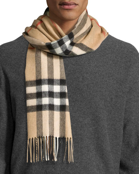 Men's Cashmere Giant Icon Scarf, Camel
