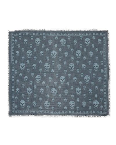 Modal/Silk Skull Shawl, Gray/Sky Blue