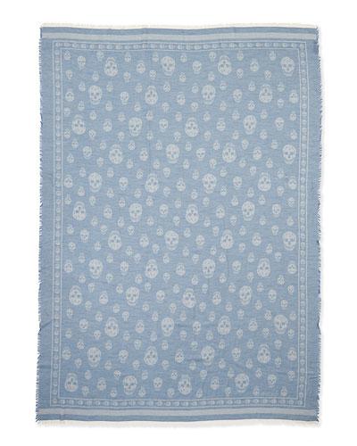 Men's Allover Skull-Print Scarf, Blue/Gray