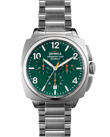 Shinola 40mm Brakeman Chronograph Watch, Green