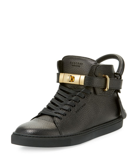Buscemi 100mm High-Top Leather Sneaker with Padlock, Black