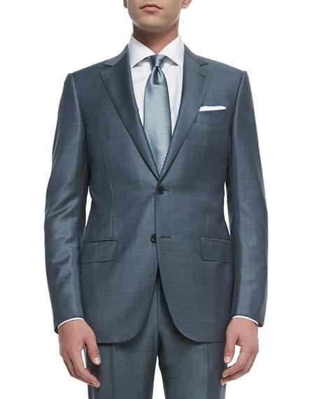 Ermenegildo Zegna Trofeo Wool Sharkskin Suit, Slate Gray