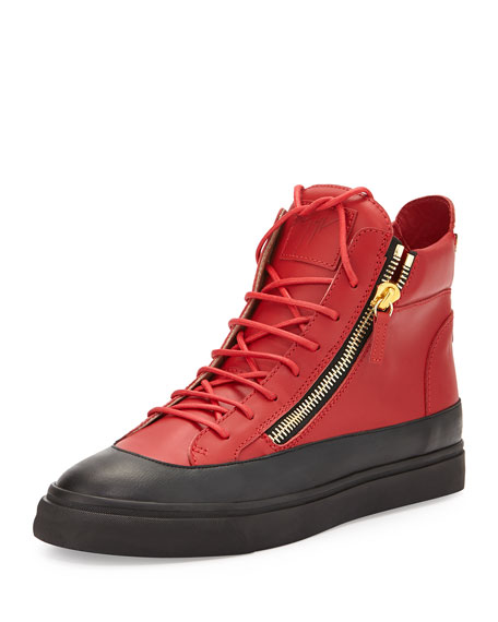 Giuseppe Zanotti Men's Zip Leather High-Top Sneaker, Red/Black