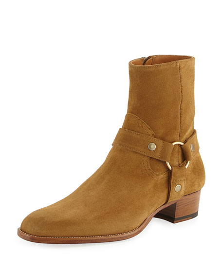 Saint Laurent Wyatt Suede Harness Boot