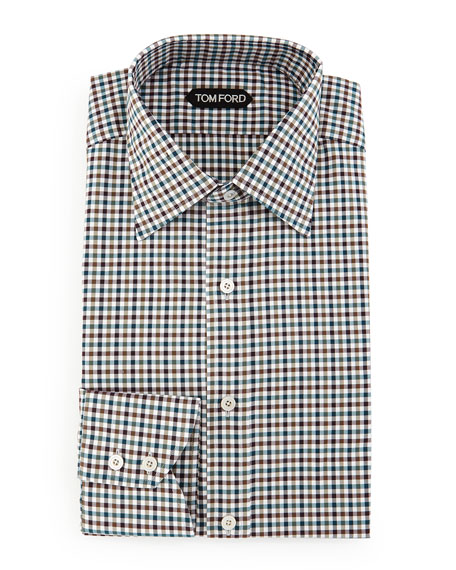 TOM FORD Gingham Sport Shirt, Teal/Olive