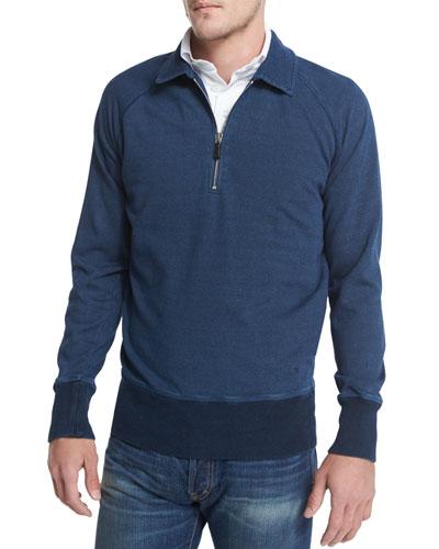Denim Half-Zip Polo Sweatshirt