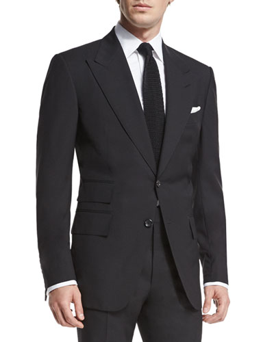 Windsor Base Peak-Lapel Two-Piece Suit, Black