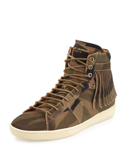 Camo-Print Fringe-Detail High-Top Sneaker, Olive