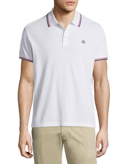 Moncler Tipped Short-Sleeve Pique Polo Shirt, White