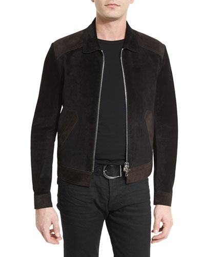 Two-Tone Aged Suede Bomber Jacket, Black