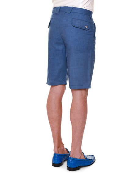 Flat-Front Cashmere Shorts