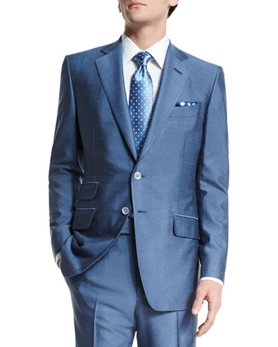 O'Connor Base Half-Lined Silk Suit, Light Blue