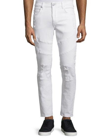 True Religion Geno Distressed Moto Jeans, Optic White