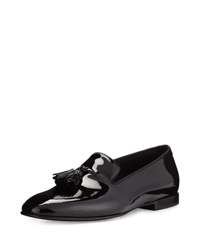 Chesterfield Patent Leather Tassel-Front Loafer  Black