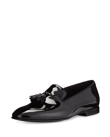 TOM FORD Chesterfield Patent Leather Tassel-Front Loafer, Black