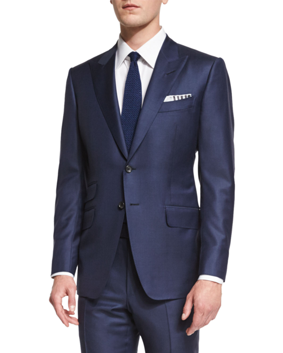O Connor Base Sharkskin Two Piece Suit Bright Navy