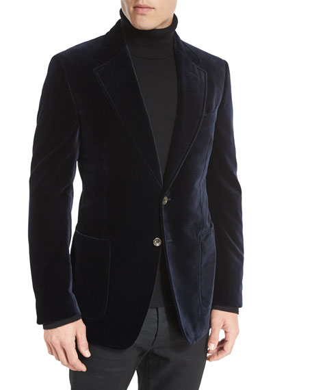 TOM FORD Shelton Base Velvet Sport Jacket, Navy