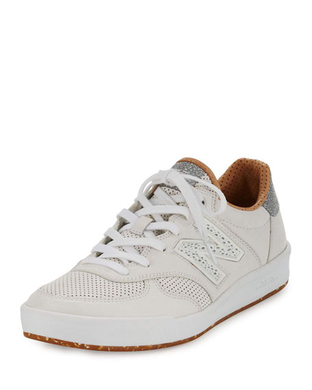 New Balance Men's CRT300v1 Leather Trainer Sneaker, White/Tan