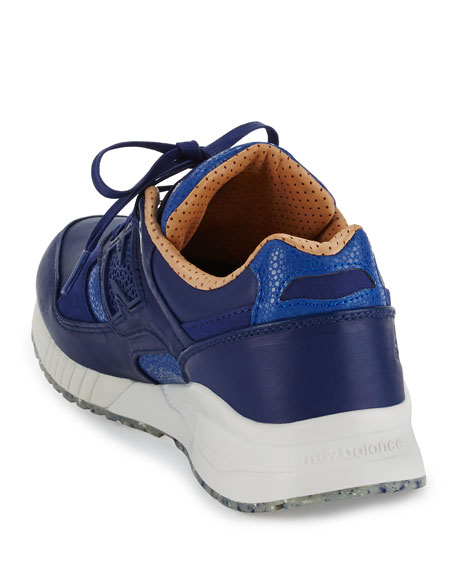 Men's ML530 Leather Trainer Sneaker, Blue/Brown