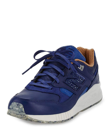New Balance Men's ML530 Leather Trainer Sneaker, Blue/Brown