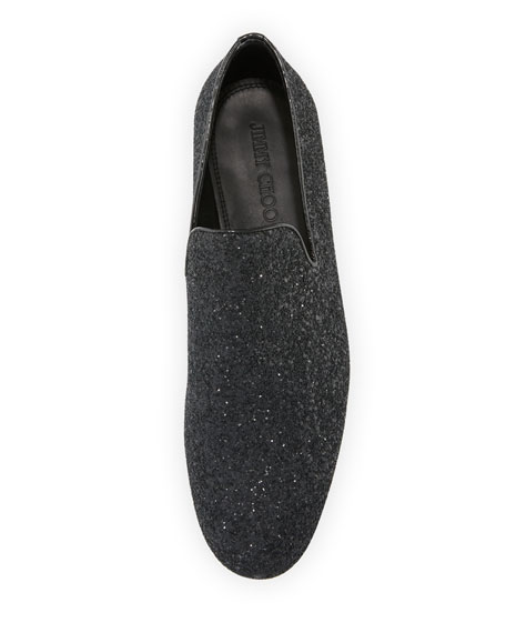 Sloane Men's Coarse Glitter Slipper, Black
