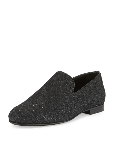 Jimmy Choo Sloane Men's Coarse Glitter Slipper, Black