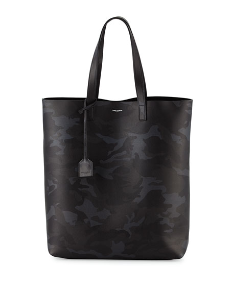 Saint Laurent Men's Camouflage Leather Tote Bag, Black