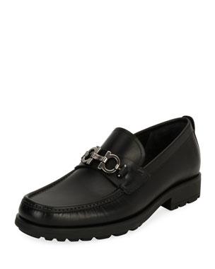 601019018ab7 Salvatore Ferragamo Men s Leather Lug-Sole Loafer