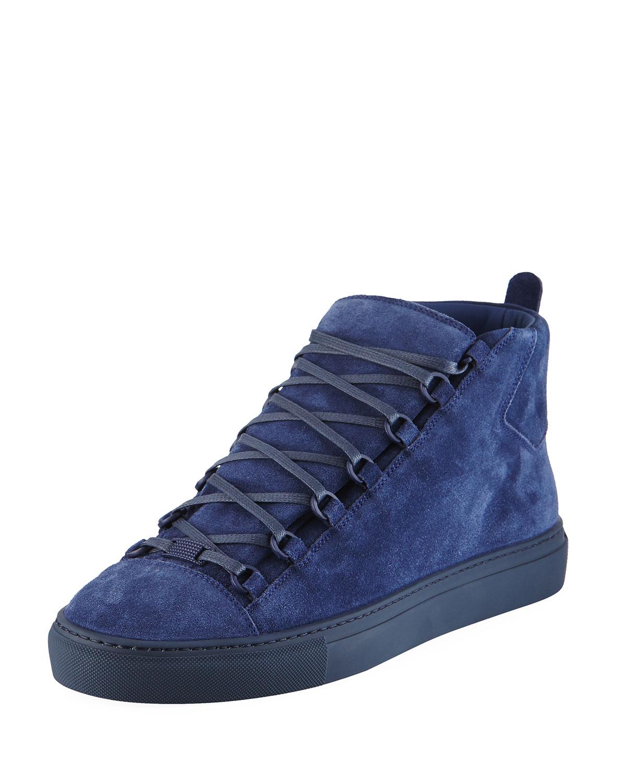 332984f7521bb Balenciaga Men s Arena Suede Mid-Top Sneaker