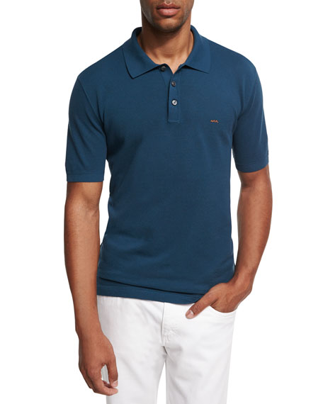 Ermenegildo Zegna Cotton Pique Polo Shirt, Teal Blue