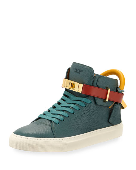 Buscemi 100mm Tricolor Leather Mid-Top Sneaker