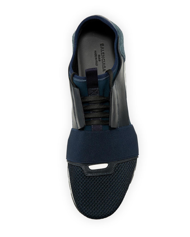 3600ab2e6559b Balenciaga Men's Race Runner Mesh & Leather Sneaker | Neiman Marcus