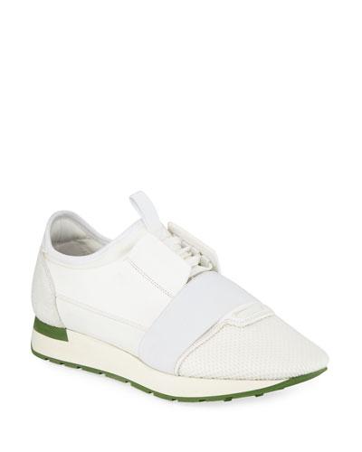 Men's Race Runner Mesh & Leather Sneakers  White