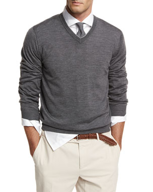 68661432dd070c Brunello Cucinelli Fine-Gauge Tipped V-Neck Sweater