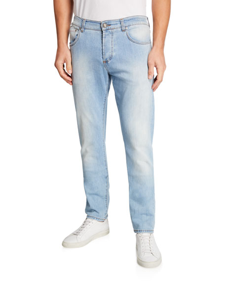 Light Wash Straight-Leg Jeans