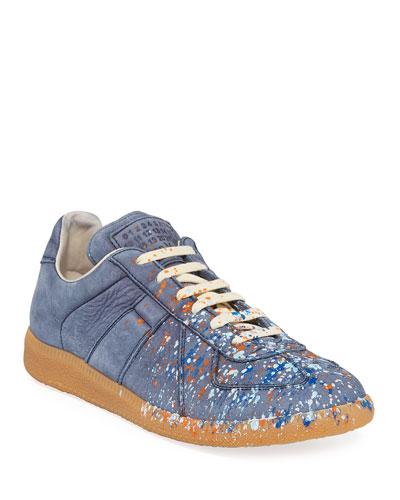Men's Replica Paint-Splatter Suede Low-Top Sneakers  Blue