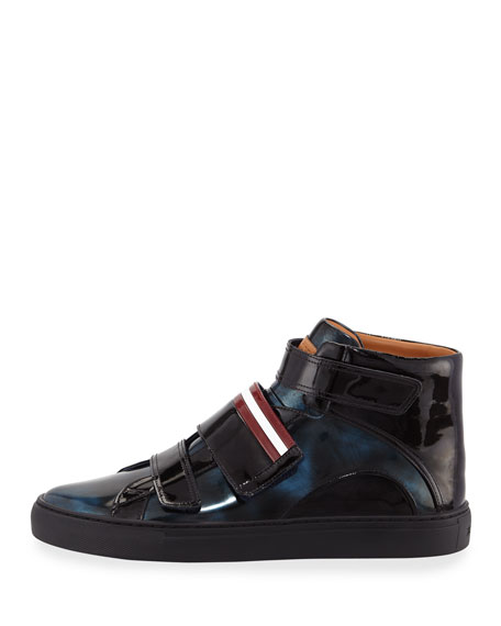 Men's Herrick Metallic Patent Leather High-Top Sneakers, Blue
