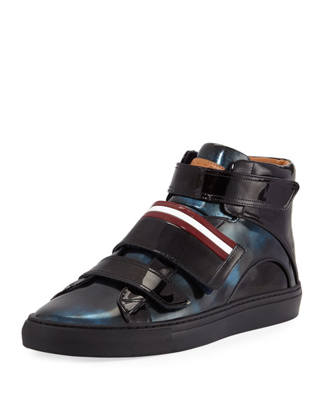 Bally Herrick Metallic Patent Leather High-Top Sneaker, Blue