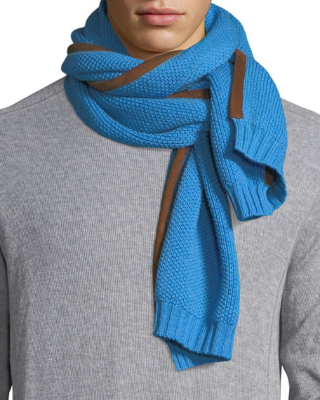 Il Borgo Men's Cashmere Scarf w/ Nubuck Piping