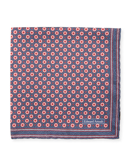 Edward Armah Herringbone Dot Silk Pocket Square, Navy