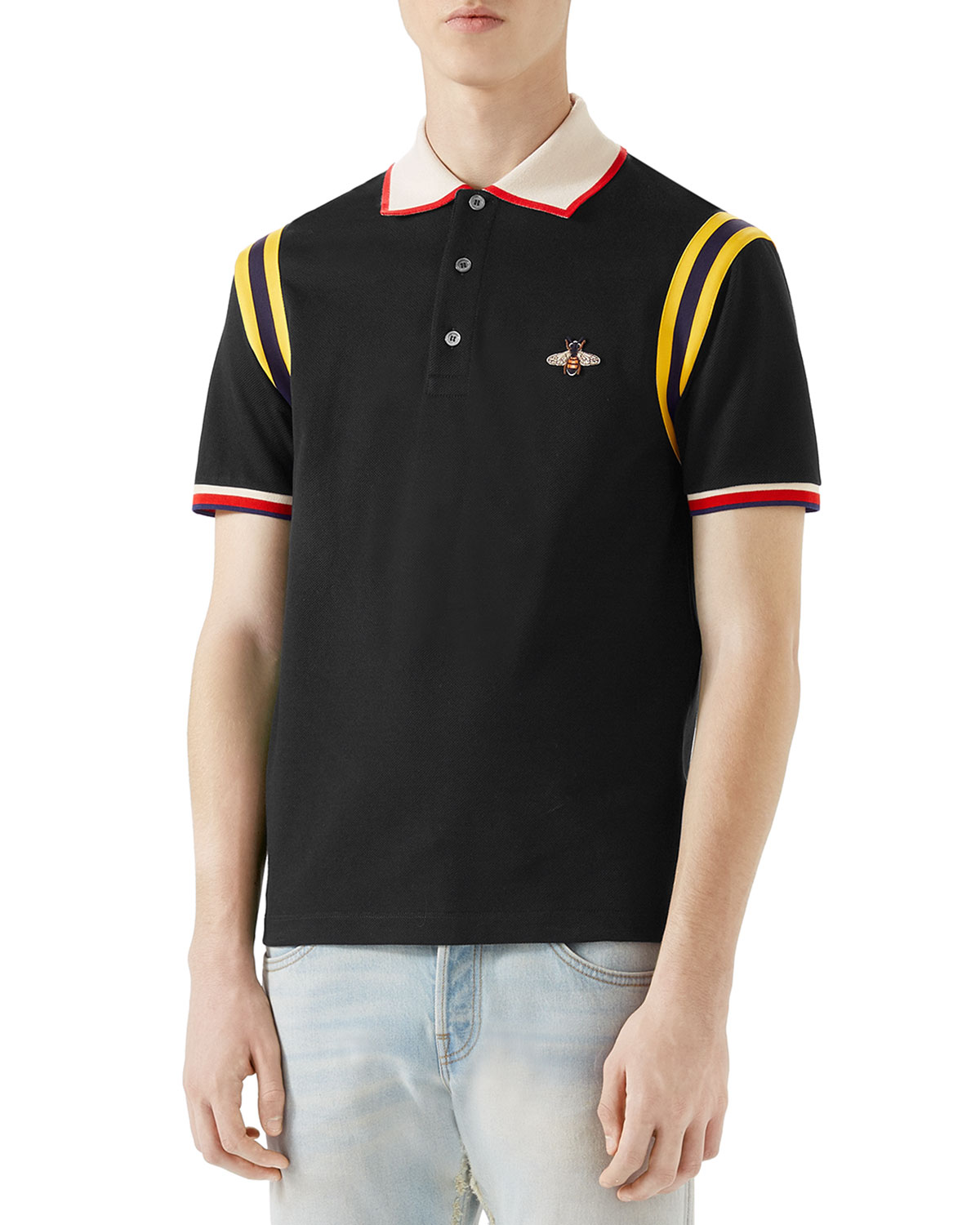 a334cf552a5e Gucci Bee-Embroidered Polo Shirt | Neiman Marcus