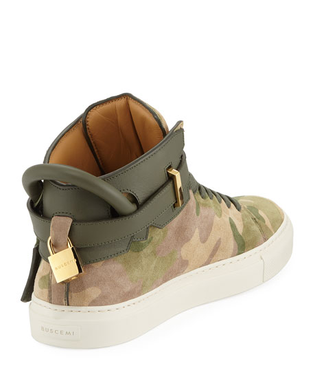Buscemi Men's Camo-Print High-Top Sneakers