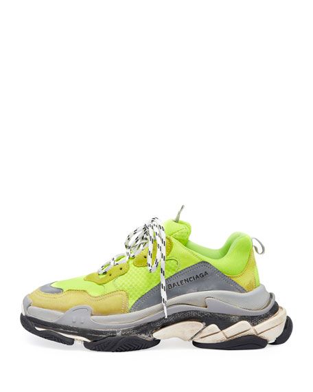 Men's Triple S Mesh & Leather Sneakers, Yellow
