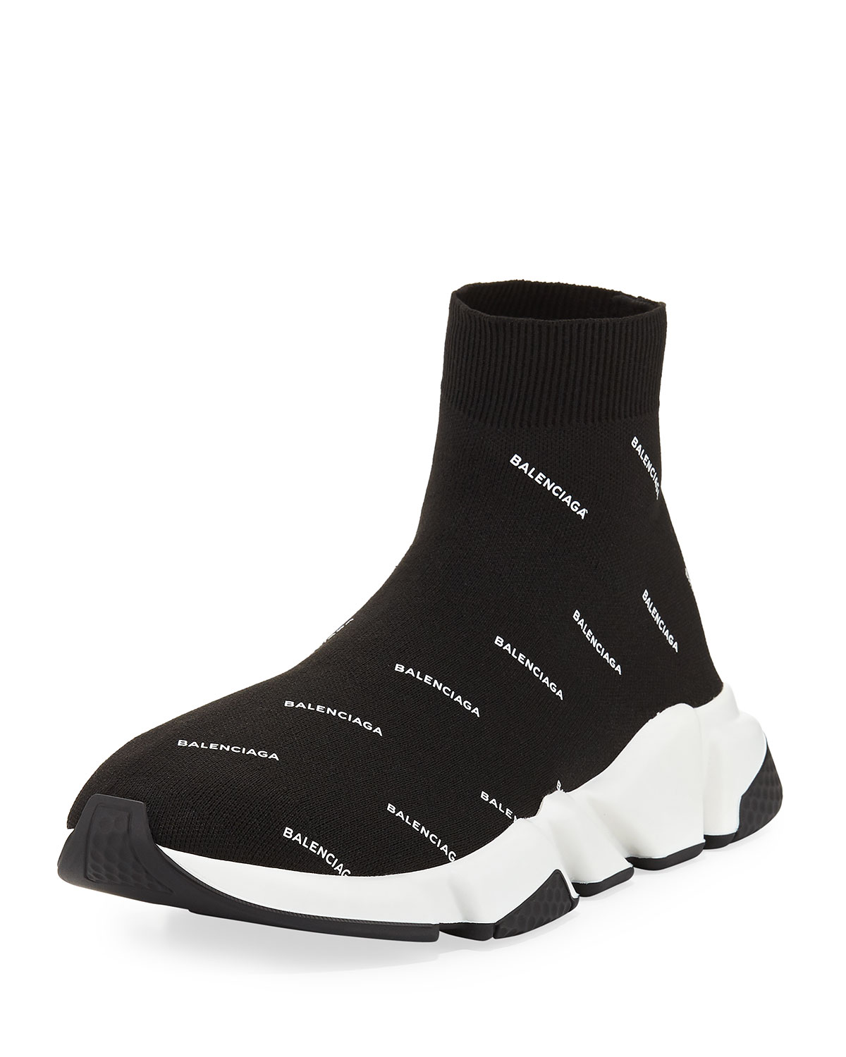 9761bf88afd57 BalenciagaMen s Speed Signature Mid-Top Trainer Sock Sneakers. Free Shipping  ...
