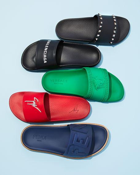 6fb4cf400caf Image 2 of 6  Rubber Slide Sandals w  Raised Logo Detail
