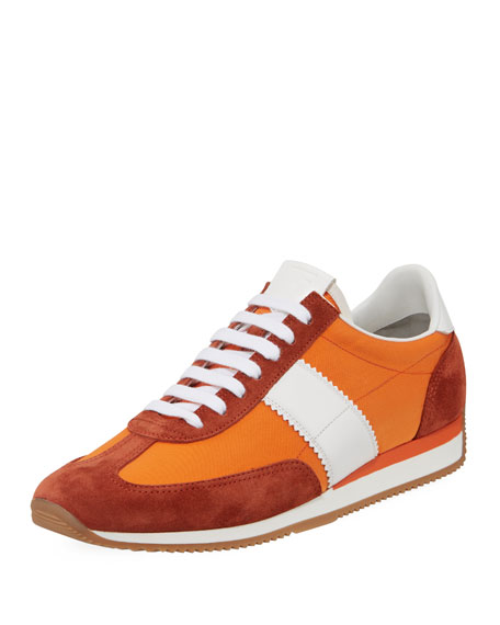 Image 1 of 5: Men's Suede-Trim Mesh-Upper Low-Top Sneakers