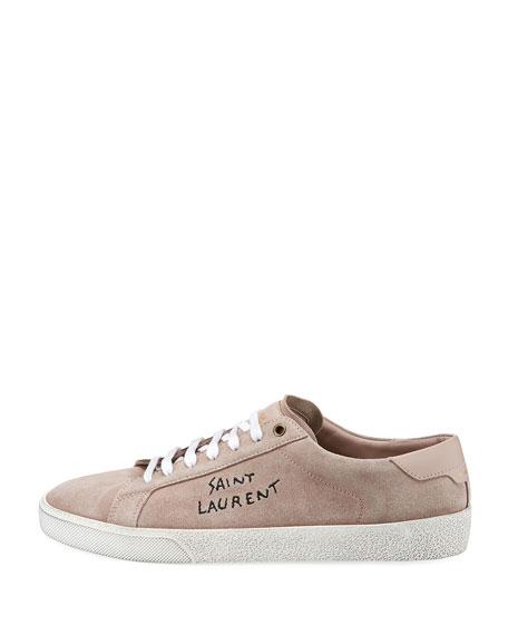 Saint Laurent Men's Suede Low-Top Logo Sneakers