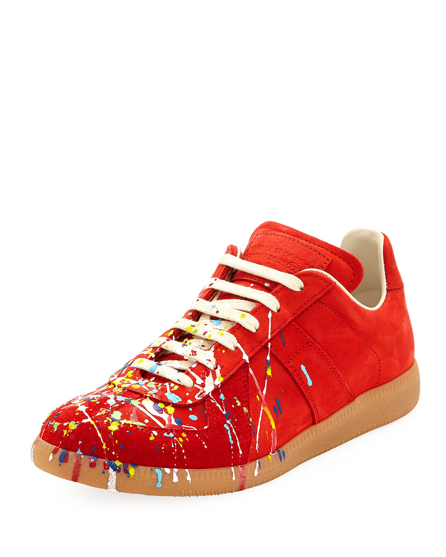 Maison Margiela Men S Replica Paint Splatter Suede Low Top Sneakers