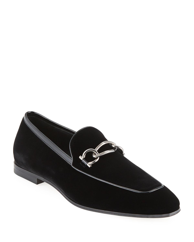 d061e6aa697 Salvatore Ferragamo Men s Boy 2 Chain Detail Velvet Loafer